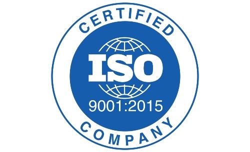 Blue ISO 9001:2015 certification logo