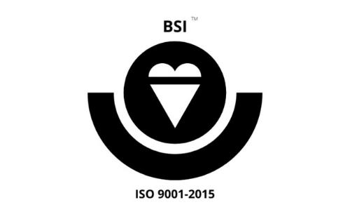 Black and white certification logo for BSI ISO 9001-2015