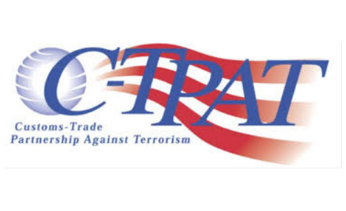 Red and blue Customs-Trade Partnership Against Terrorism Certification logo